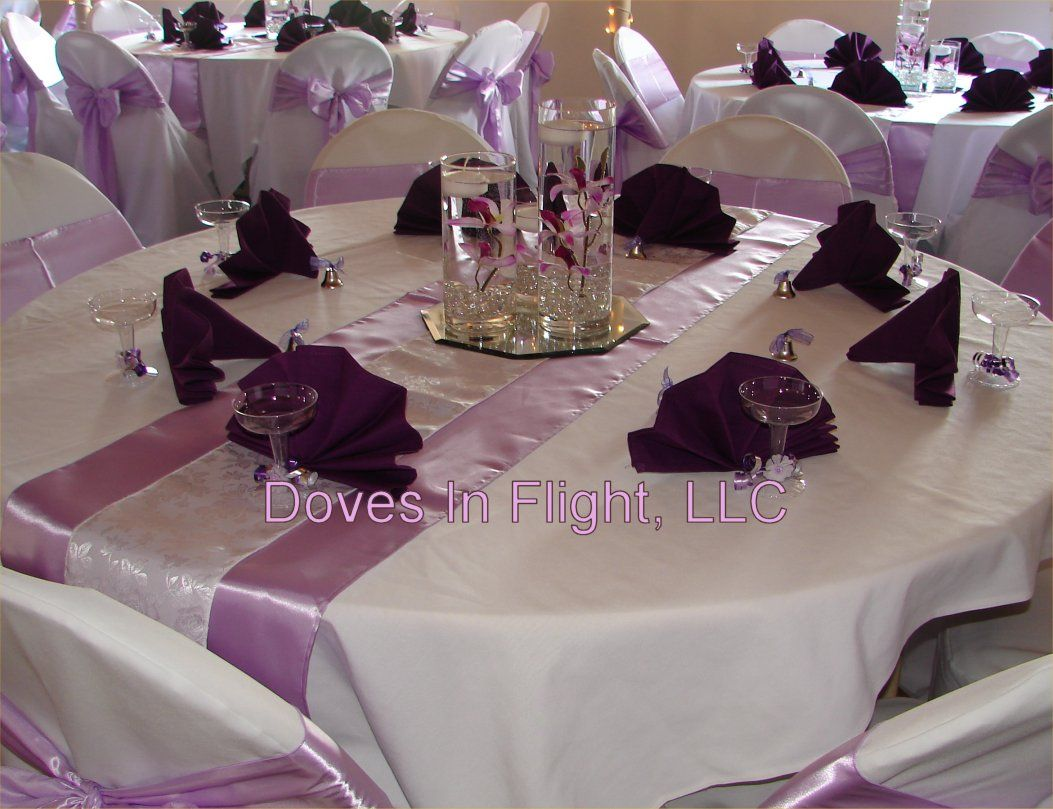 Cylinder vase centerpieces purple orchid trio lilac satin cylinder vase centerpieces purple orchid trio lilac satin runner and sashes white satin reviewsmspy