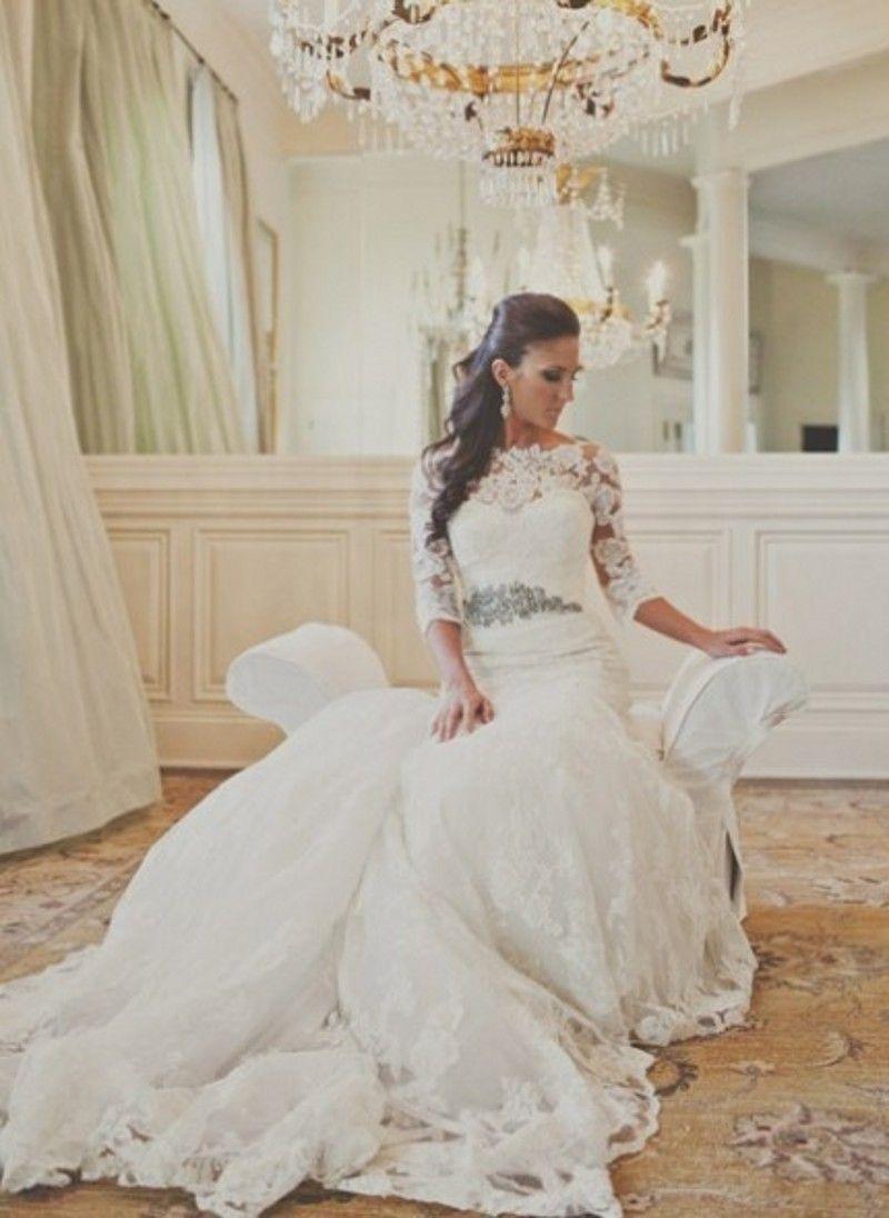 Elegant half sleeves mermaid wedding dresses lace plus size wedding