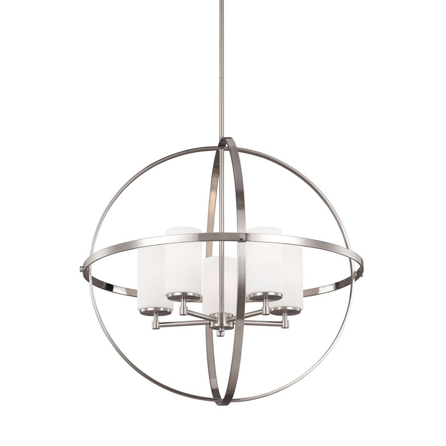 Sea Gull Lighting Alturas 27 25 In Brushed Nickel Single Etched Gl Orb Pendant