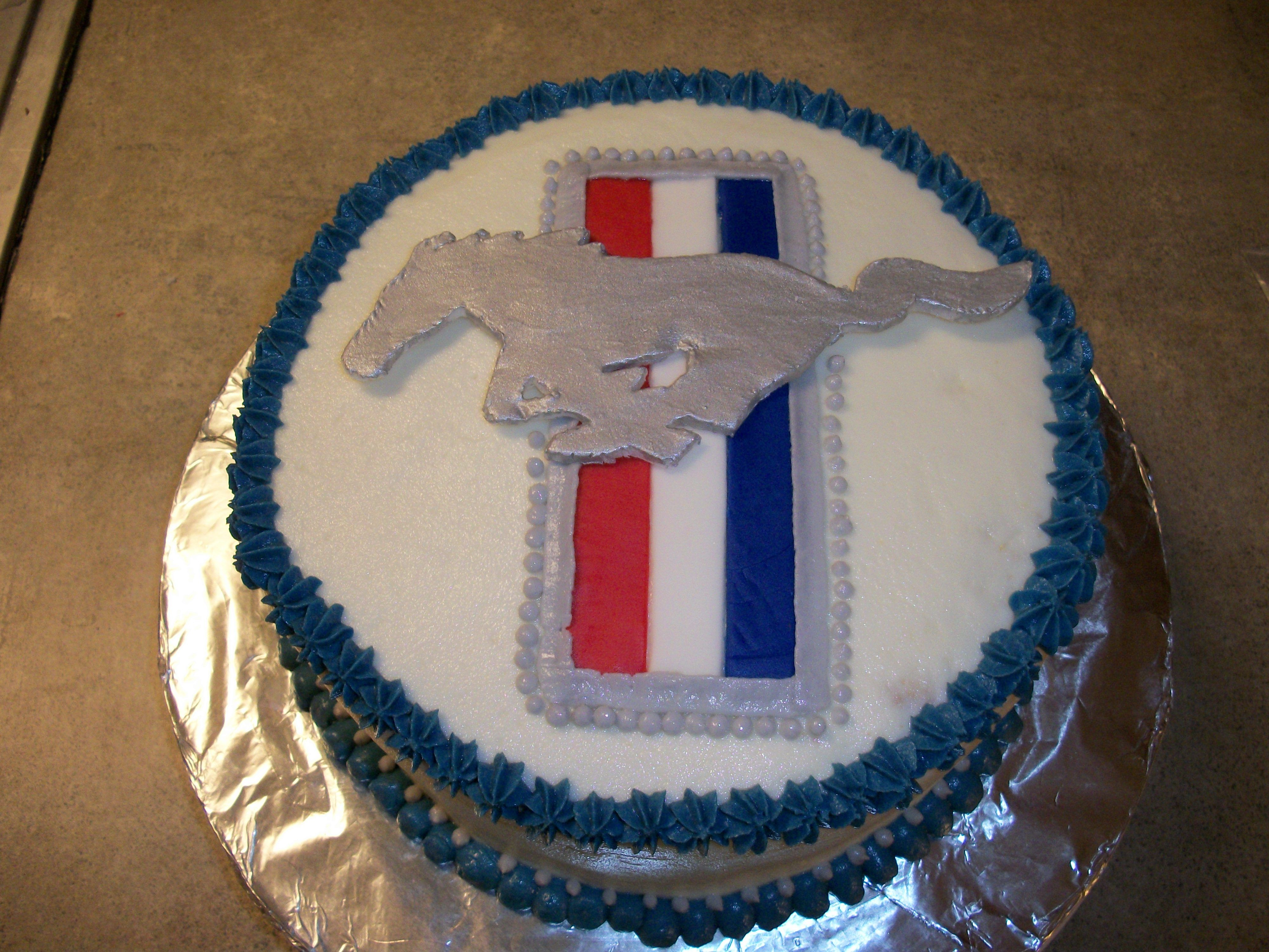 Cookie Cake Ideas For Boyfriend : Ford Mustang cake I made for my husband s birthday ...