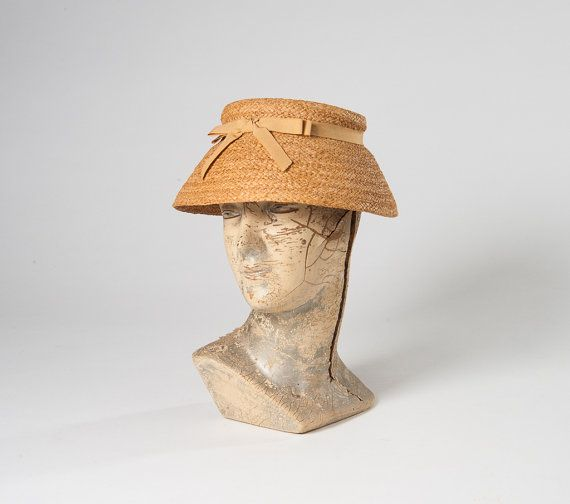 1950s Straw Hat Vintage Betmar Lampshade Hat With Ribbon Bow Spring Easter Bonnet Vintage Millinery Hats Vintage Vintage