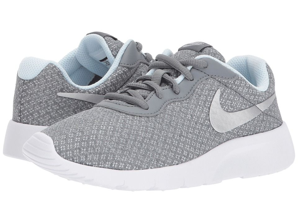 33913ba5deef5 Nike Kids Tanjun (Little Kid) Girls Shoes Cool Grey Metallic Silver Blue  Tint