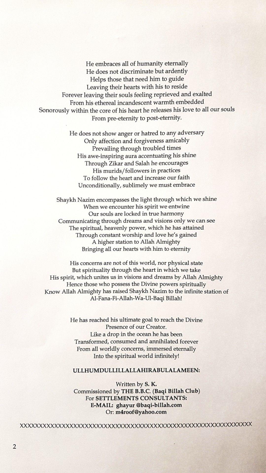 Page 2 of Baqi Billah Maulana Shaykh Nazim Poem | Quotes