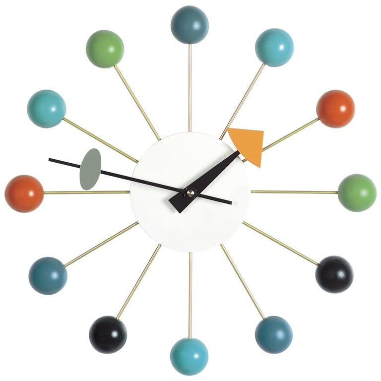 Vitra Ball Clock In Multicolor By George Nelson In 2020 Nelson Ball Clock Wall Clock Modern George Nelson Clocks