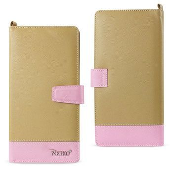 Reiko REIKO IPHONE 6/ 6S TWO TONE SUPER WALLET CASE WITH MULTIPLE CARD SLOTS IN PINK GOLD