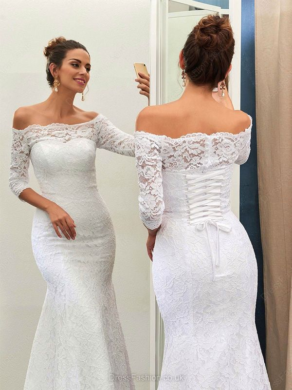 0d27ba7e740d Half Sleeve Lace Wedding Dress,Elegant White Wedding Dresses,Sexy White  Wedding Dresses,