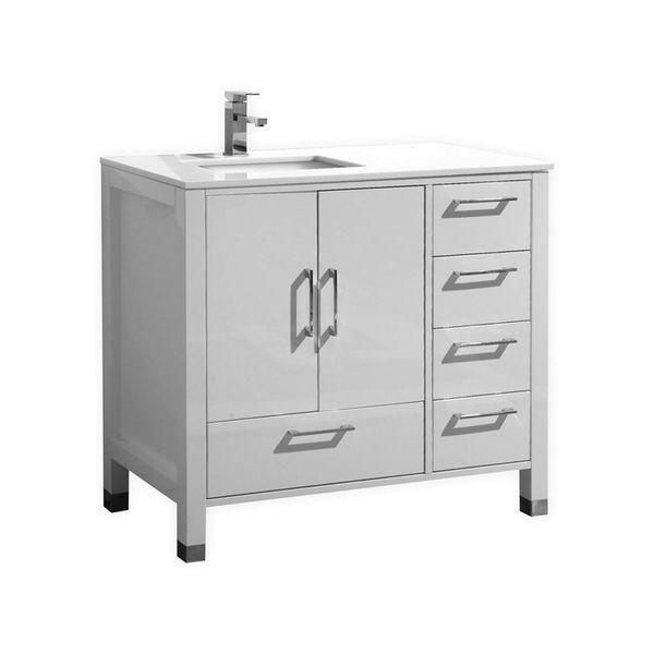 bathroom vanities-ASL1540-GW-1 | White quartz countertop ...