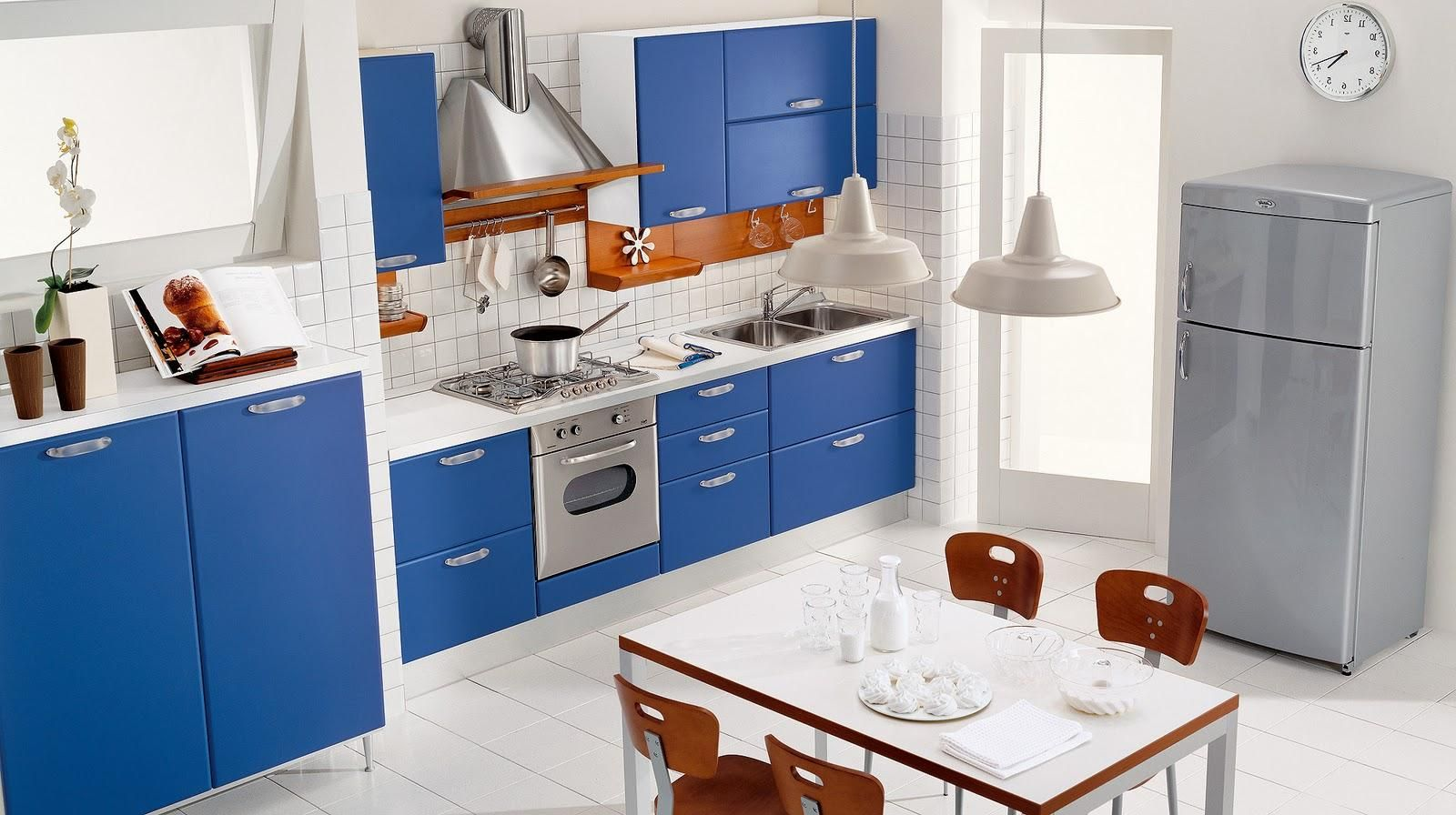 Interior, Awesome Blue Kitchen Decoration With Wonderful Blue Wood Kitchen  Cabinet On Combined White Top