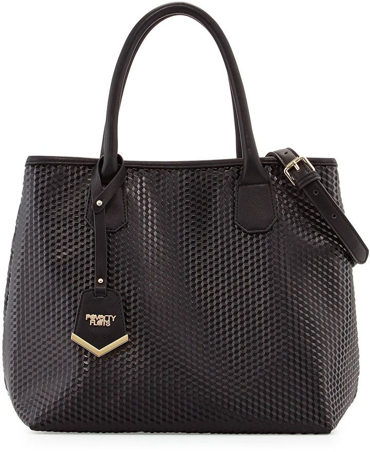 POVERTY FLATS by rian Geo Gloss Textured Tote Bag, Black