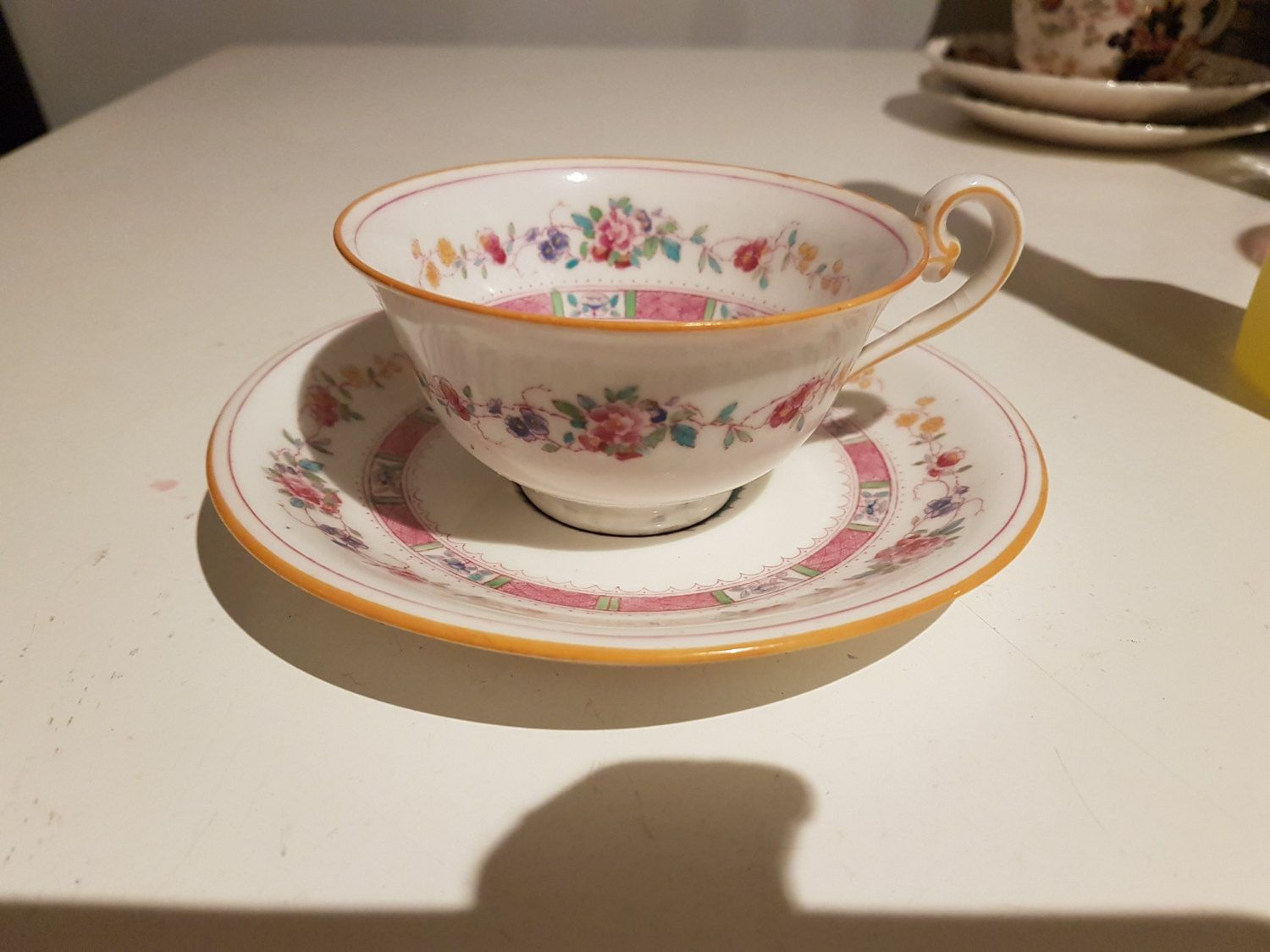 Pretty Art Deco Royal Doulton pink floral cup and saucer D.H. Holmes Co Ltd New Orleans by AgoodvintageBoutique on Etsy