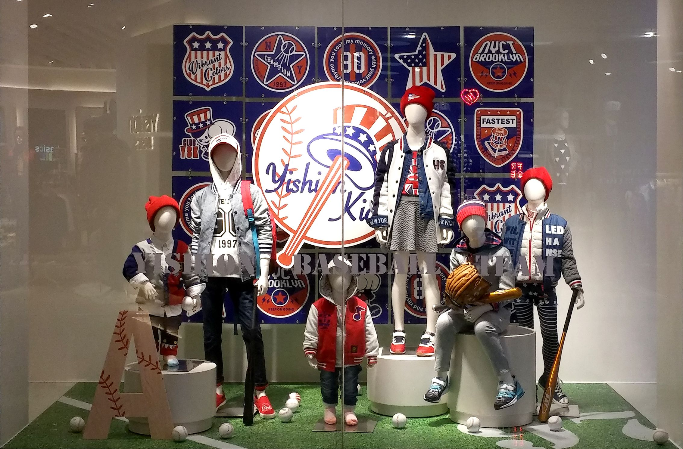 15 Fall American Baseball Team Window Display By Yishion Kids