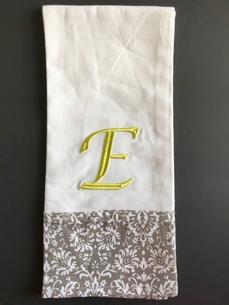 "Monogrammed "" E"" Dish Towel Hostess Gift Embroidered 100% Cotton NEW #nantucket"