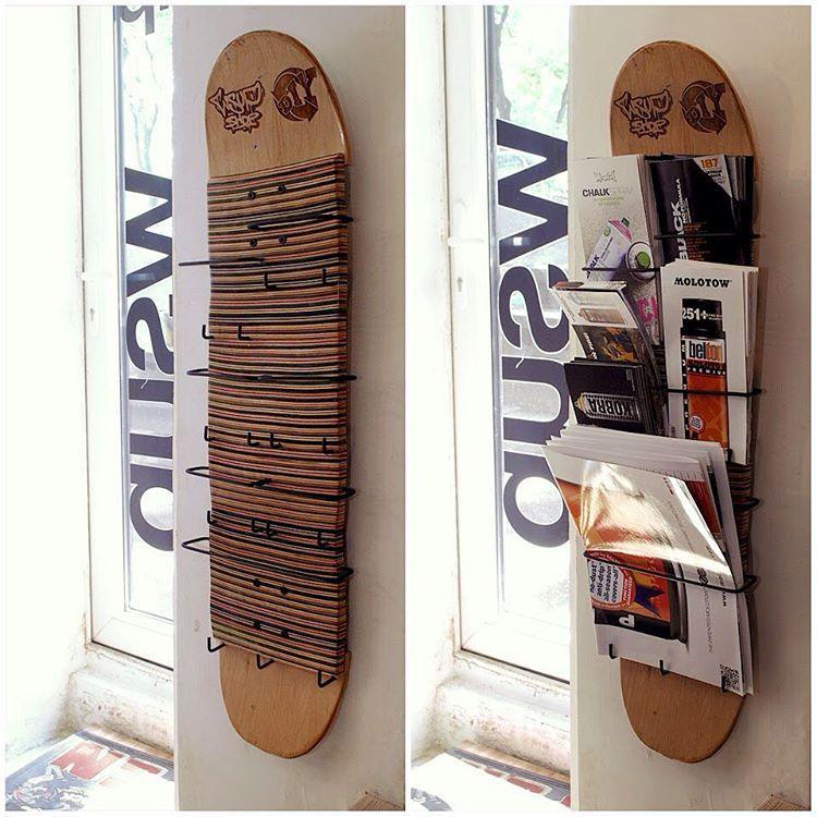 custom recycled skateboard flyer rack made by commune diy. Black Bedroom Furniture Sets. Home Design Ideas