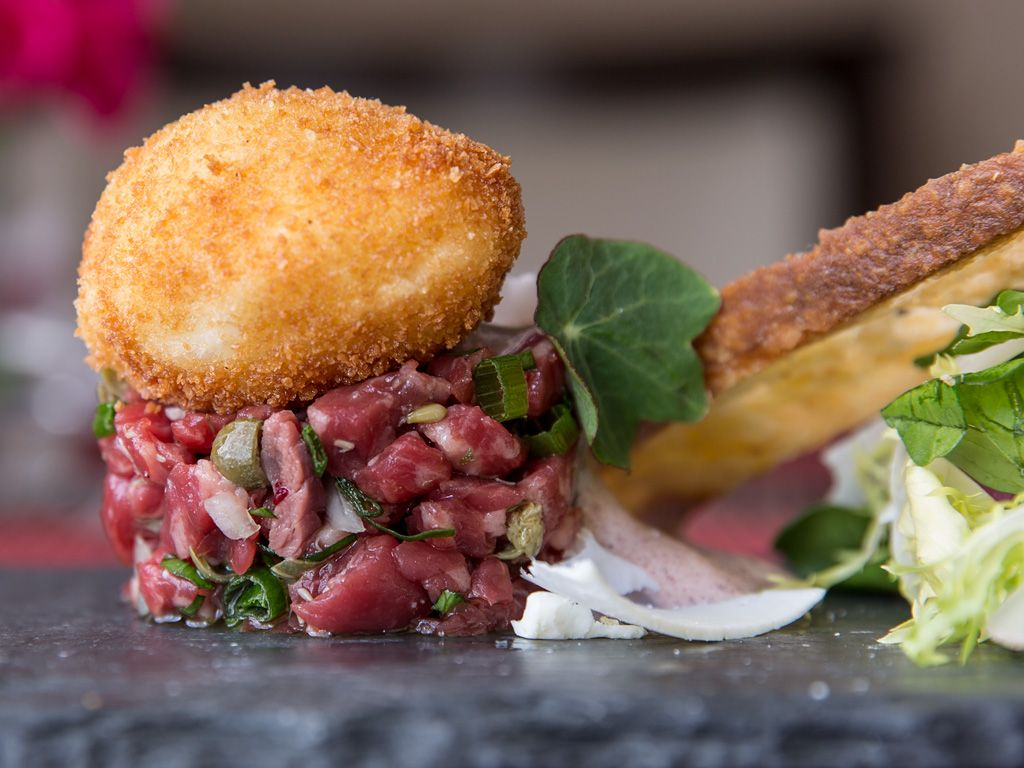 Join Paramour for Dinner and try their Snake River Farms Kobe Beef #Tartare with Watercress Salad, Violet Mustard Sabayon, and a Fried Hen Egg.