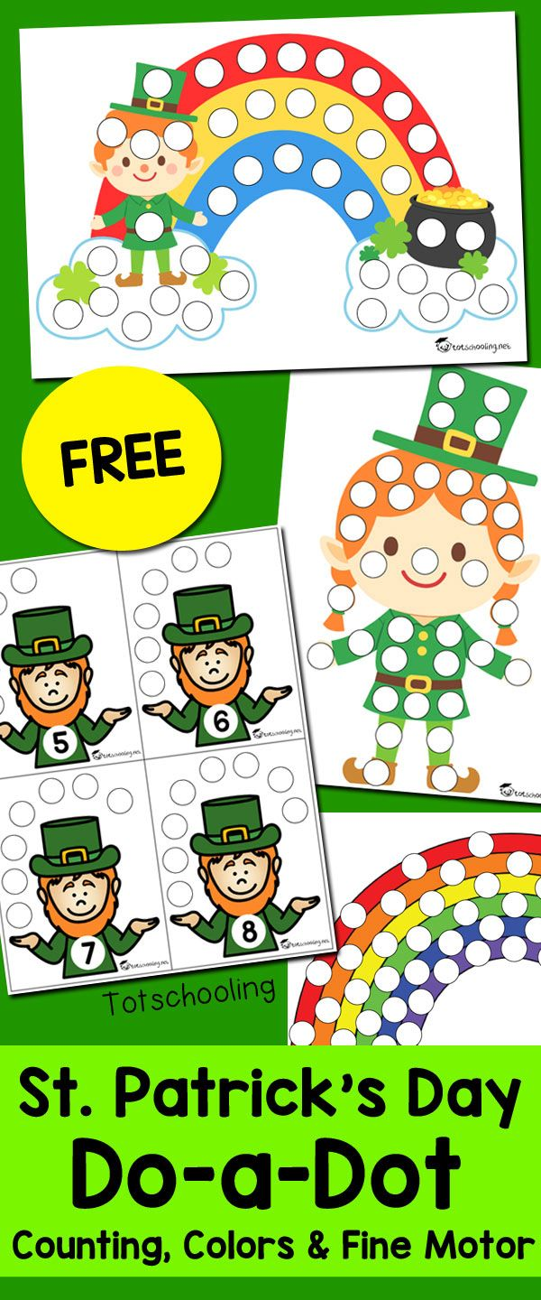 St. Patrick\'s Day Do-a-Dot Sheets | Number recognition, Free ...