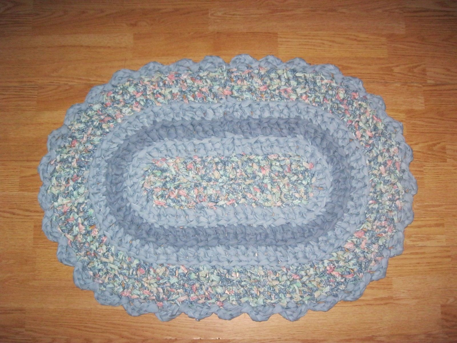 Woven Rag And Braided Rugs 160665 Fabric Rag Rug Oval Floral Print Blue Solids Hand Crochet Wachine Wash 2 Hand Crochet Braided Rugs Crochet Fabric