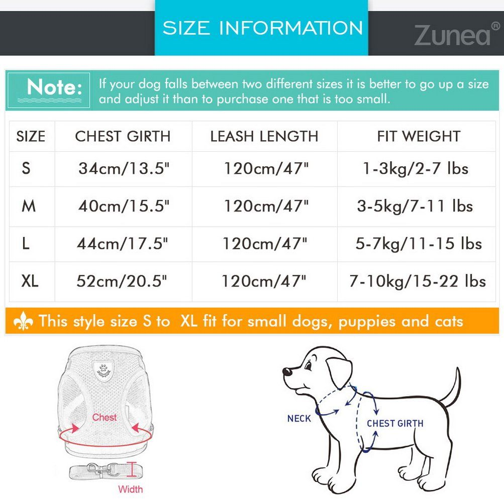 Zunea No Pull Step In Dog Vest Harness Reflective And Soft Mesh