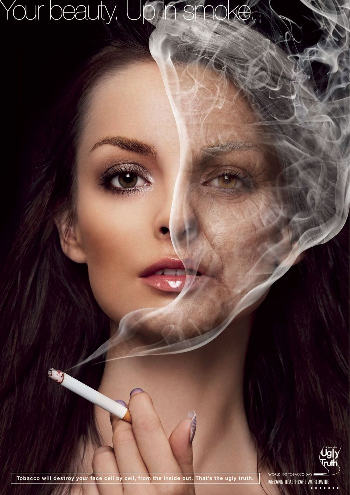 Campaign for the World No Tobacco Day 2010. Your beauty - up in smoke #healthcareadvertising #dontsmoke