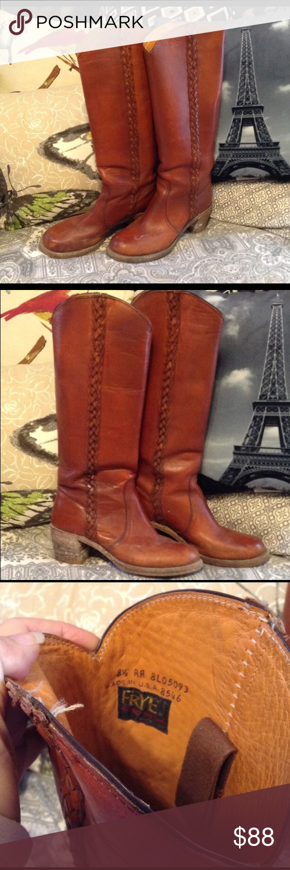 Frye Boots Tall leather boots with braiding detail in deep cognac caramel color. They need to be cleaned but are in fantastic shape. Frye Shoes Winter & Rain Boots