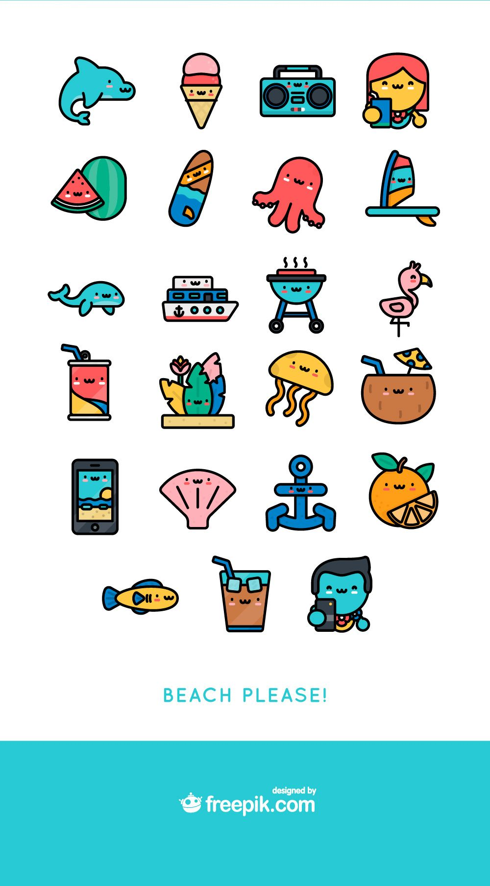 Free Download Kawaii Summer Icon Pack สติกเกอร์