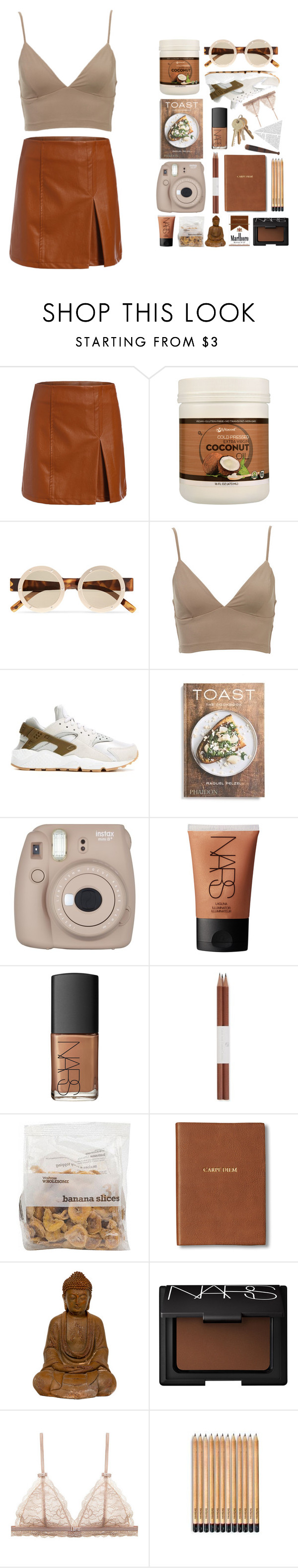 """""""Often"""" by ashola18 ❤ liked on Polyvore featuring Le Specs, NIKE, PHAIDON, NARS Cosmetics, Faber-Castell, Monica Rich Kosann, Leather, romwe, nike and shein"""