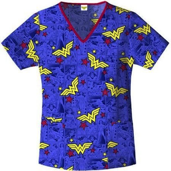 29de0be283b Nurses Scrubs Top DC COMICS Superhero Wonderwoman V-Neck Scrub Top XS S M L  XL 2XL 3XL - Brand-new, with tags - EXCELLENT QUALITY.