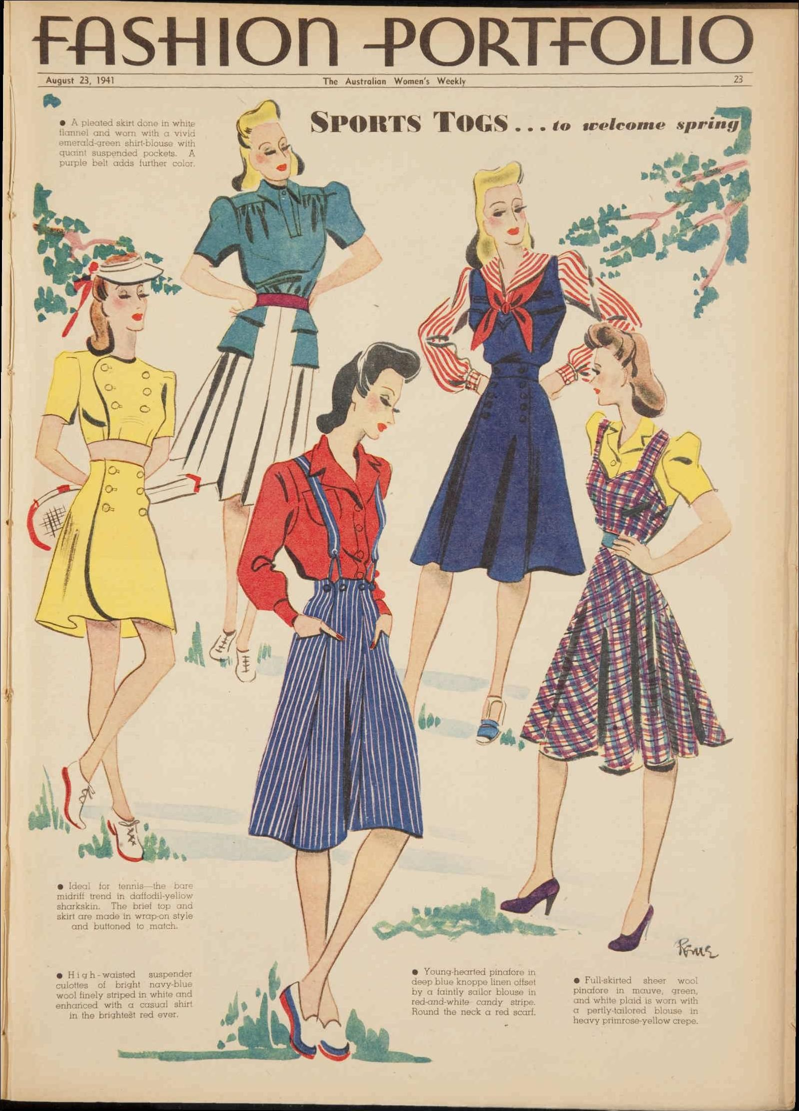 2e30df8db2c 40s vintage fashion style color illustration print ad summer sportswear  shorts bathing suit skirt top blouse War Era WWII Issue  23 Aug 1941 - The  ...