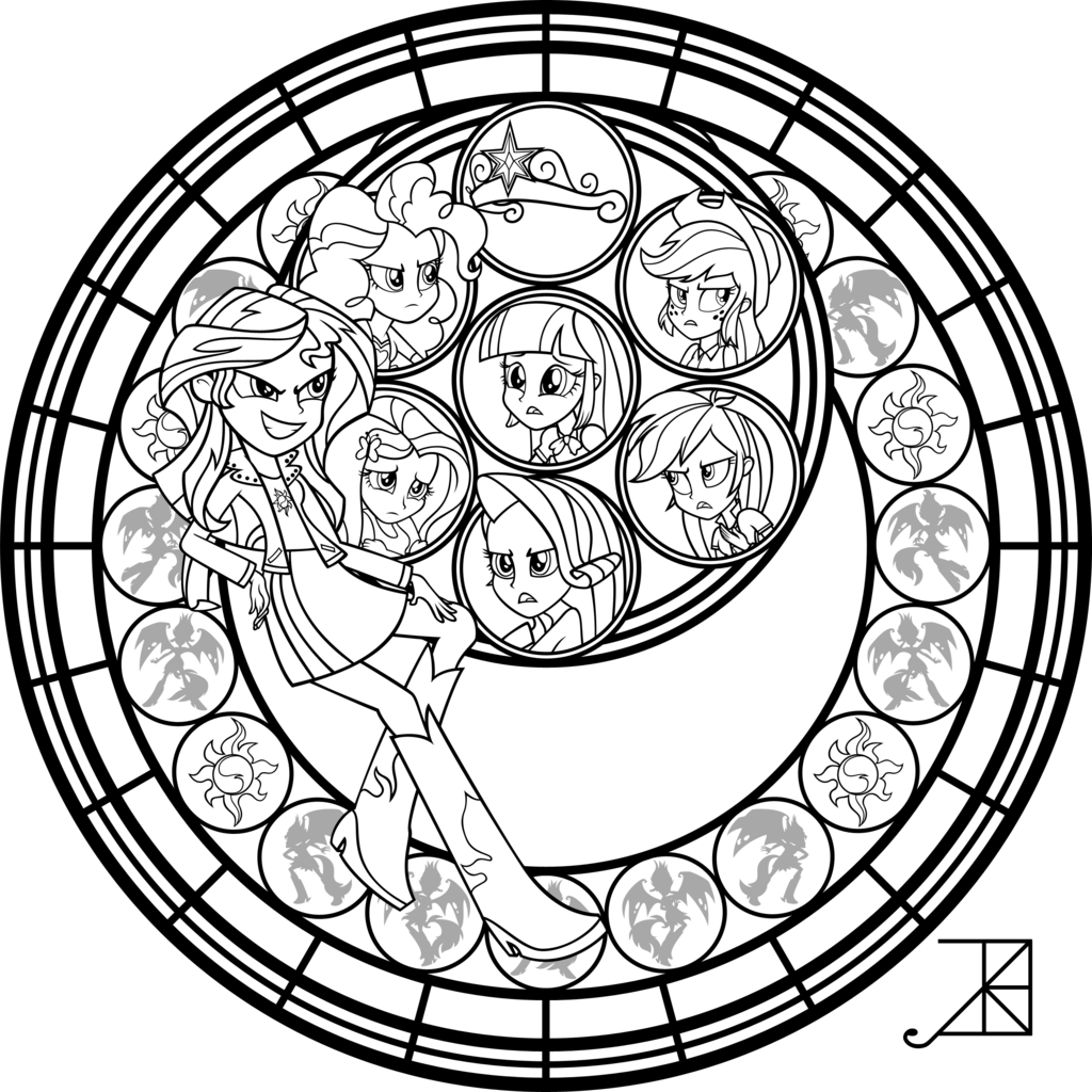 Mlp coloring pages dj pon 3 - Sunset Shimmer Stained Glass Coloring Page By Akili Amethyst Deviantart Com On