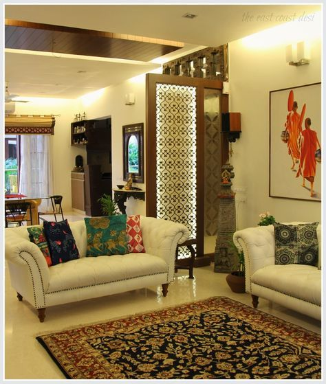 Take Note Of The Partition Between The Formal Sitting N Dinning Area Indian Interior Design Indian Living Rooms Indian Home Interior