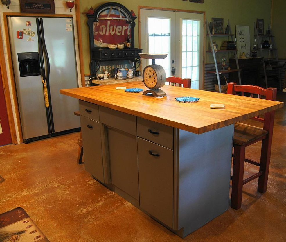 Rusty Old Metal Cabinet Turned Butcher Block Island