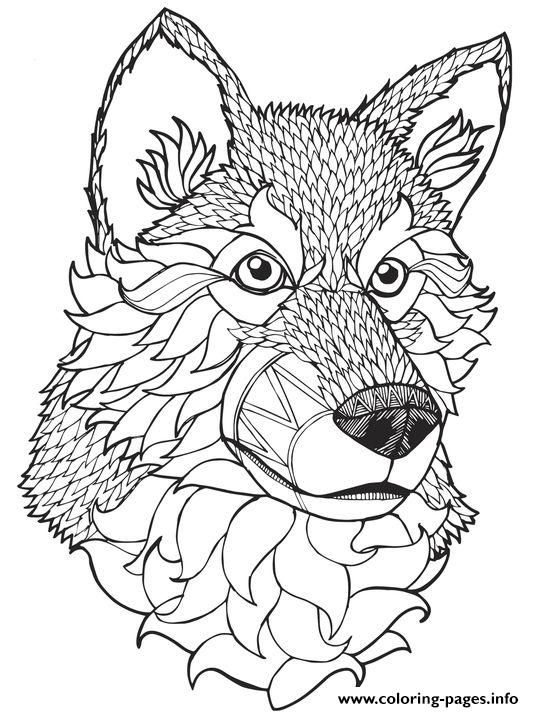 Print High Quality Wolf Mandala Adult Coloring Pages Animal