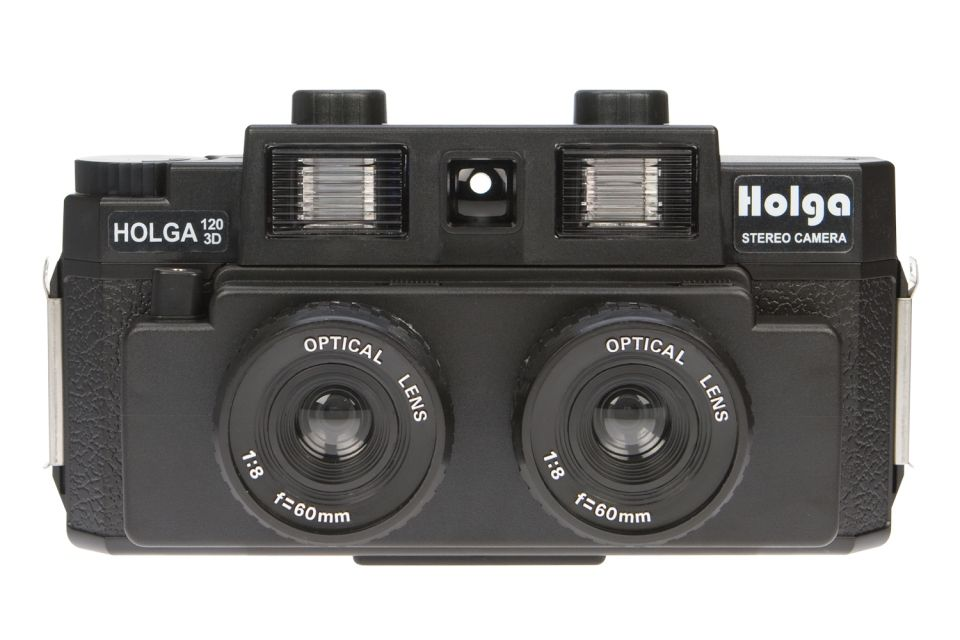 The Holga 120 3D Stereo Camera is a medium-format plastic snapshooter that will capture two images simultaneously with its two lenses, giving you a stereo image viewable in 3D!    Online Exclusive