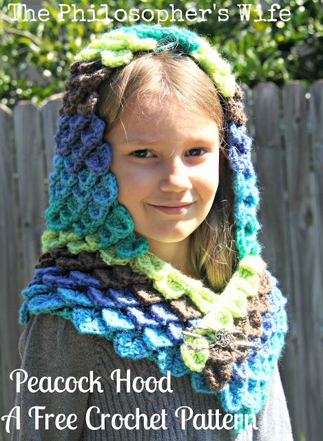 Free Crochet Pattern: Peacock Hood. This is crocheted using Caron ...