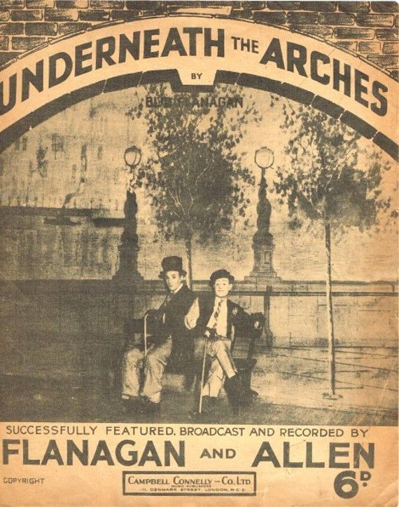 Underneath The Arches. Flanagan and Alllen. 1932.  Sheet Music Instant Download. Cover Artwork. #vintagesheetmusic
