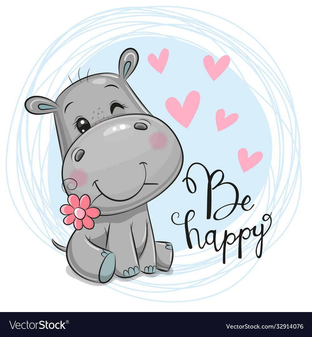 Greeting Card Cute Cartoon Hippo With Flower On A Blue Background Download A Free Preview Or High Quality Cartoon Hippo Cartoon Giraffe Cute Cartoon Pictures
