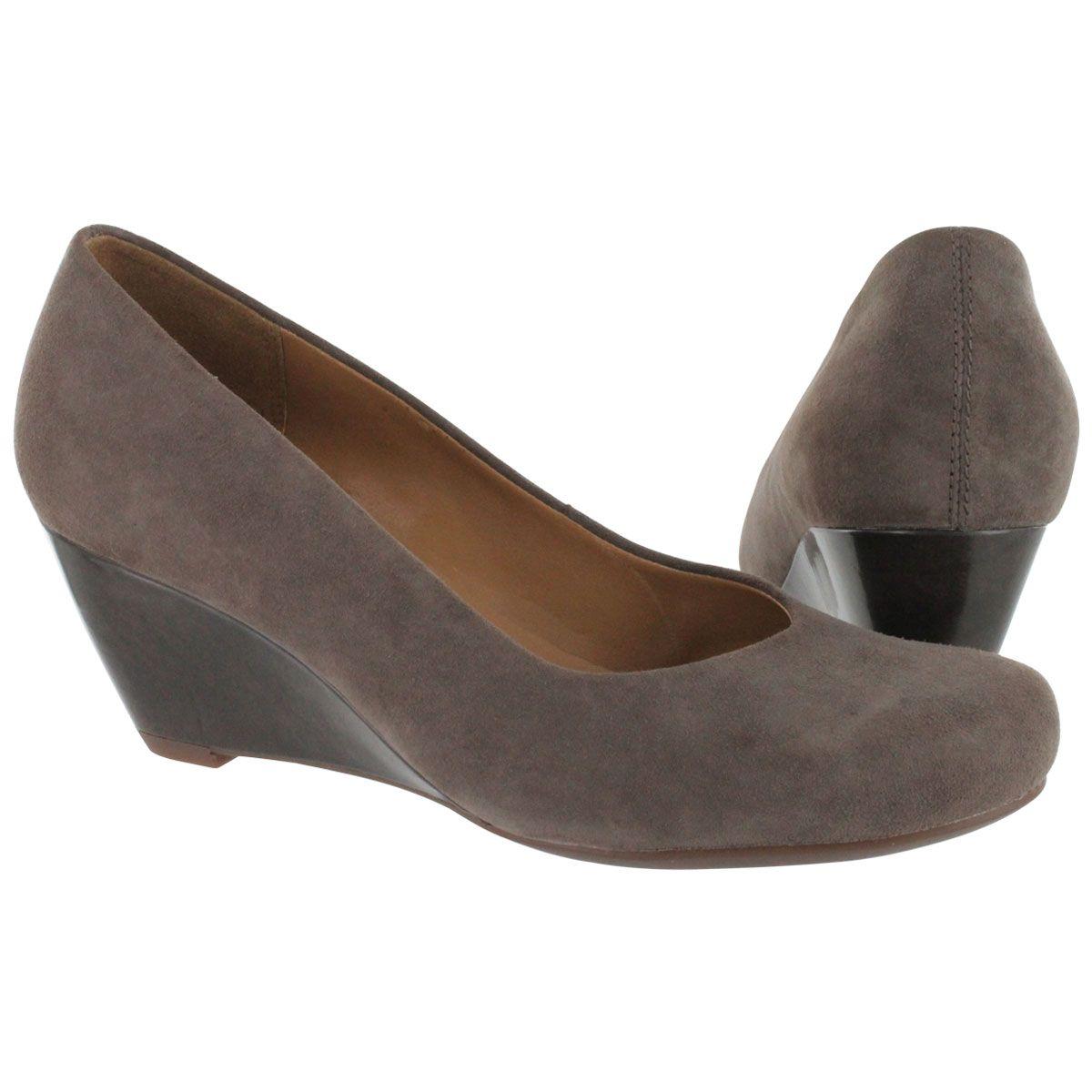 Womens Shoes Clarks Bassett Mine Grey Suede