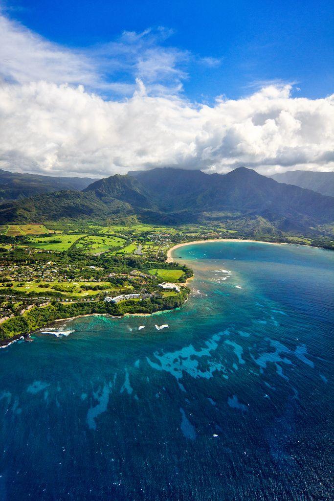 Hanalei Bay And Princeville Aerial Princeville Kauai