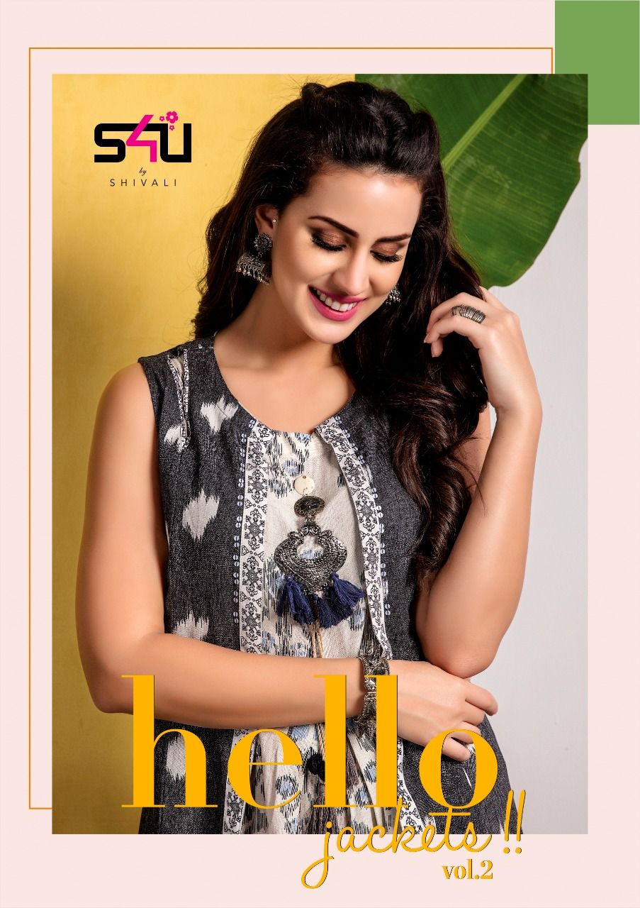 425b4fe53b S4U Shivali Hello Jacket Vol 2 Designer Printed Heavy Fancy Fabric with  Work Readymade Long Flair Kurtis with Jacket at Wholesale Rate