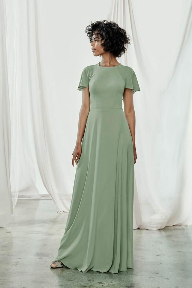 Amsale | Lilac Flat Chiffon Juliette Gb075F Modest Bridesmaid/mob Dress -   17 sage green bridesmaid dresses modest ideas
