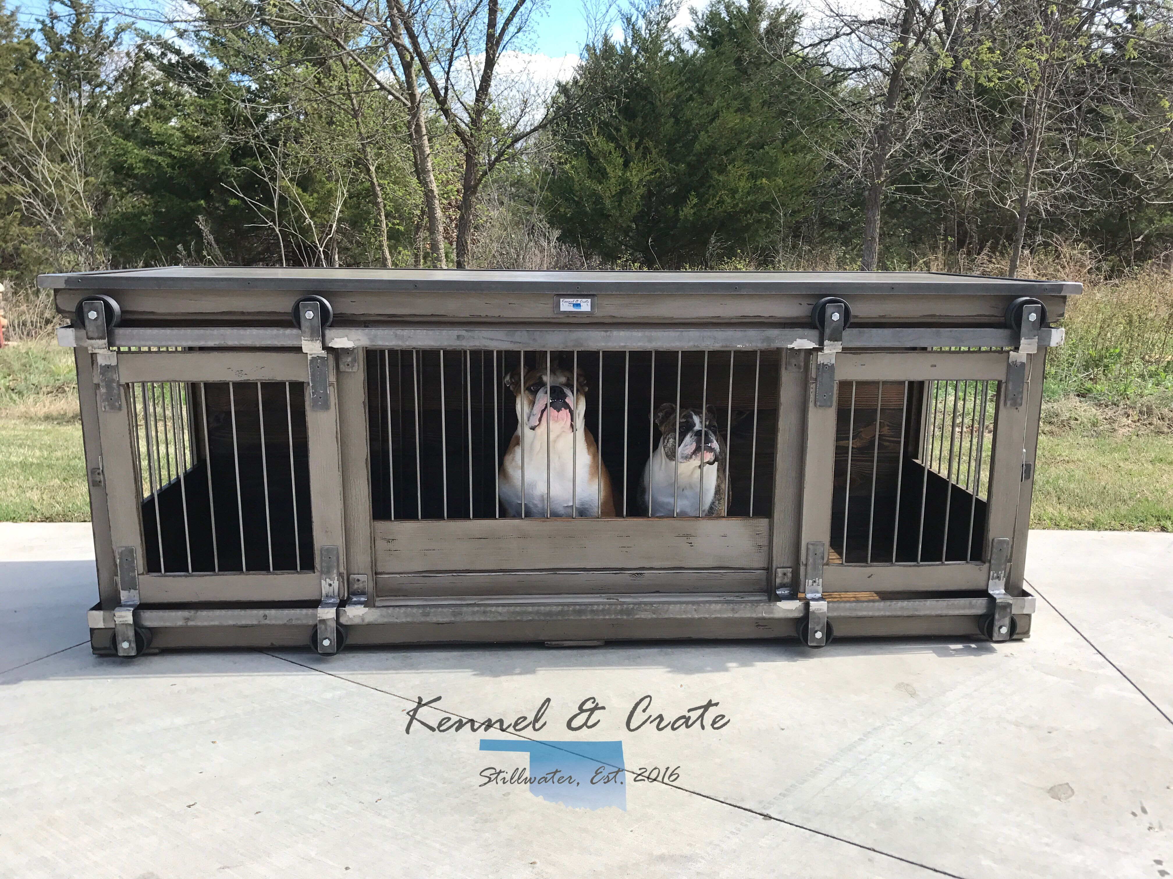 farmhouse style indoor double dog kennel benjamin moore eagle rock distressed finish how beautiful