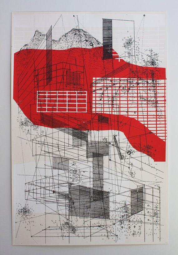 Paisaje en l neas por benkafton en etsy arte pinterest for Arquitectura en linea