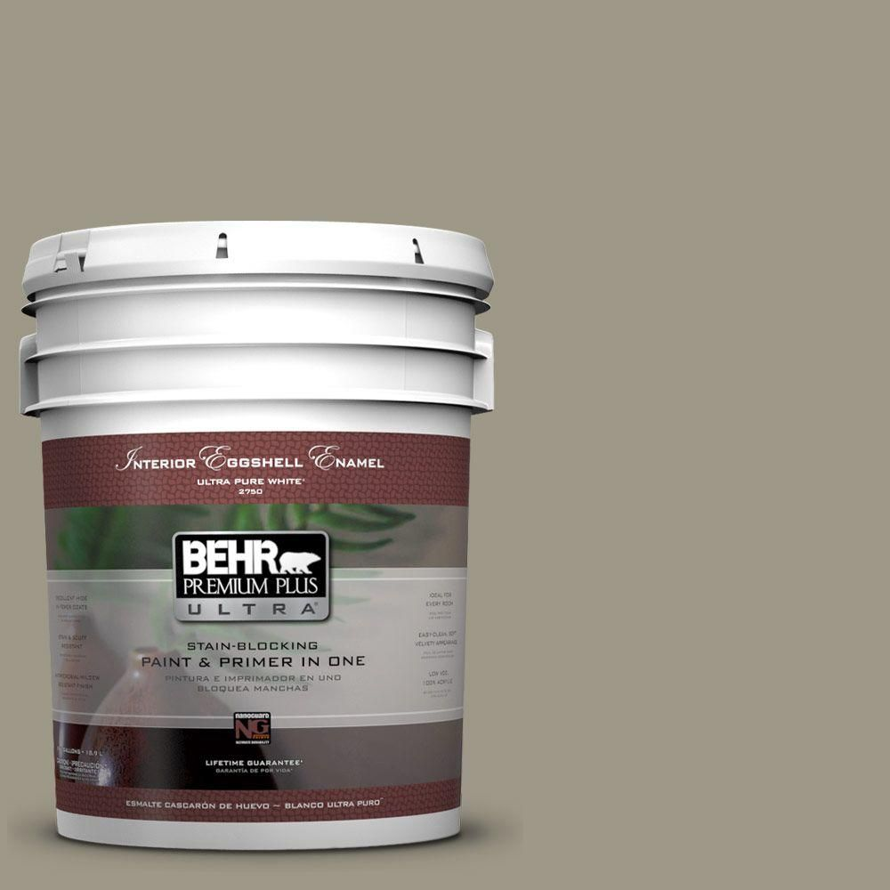 BEHR Premium Plus Ultra 5-gal. #PPU8-20 Dusty Olive Eggshell Enamel Interior Paint