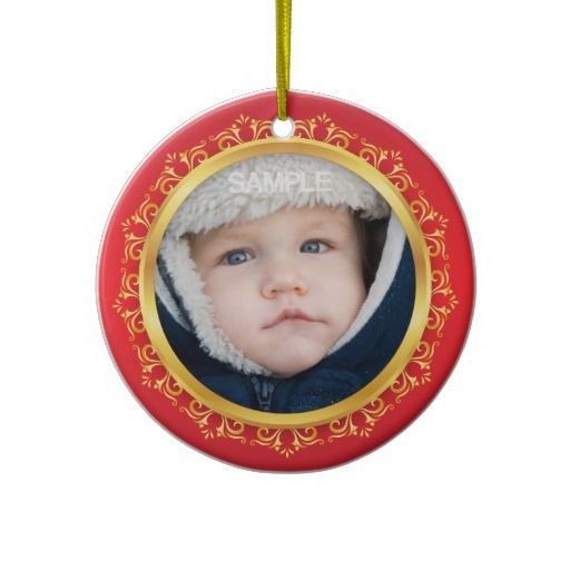 Babys first christmas photo ornament, red and gold