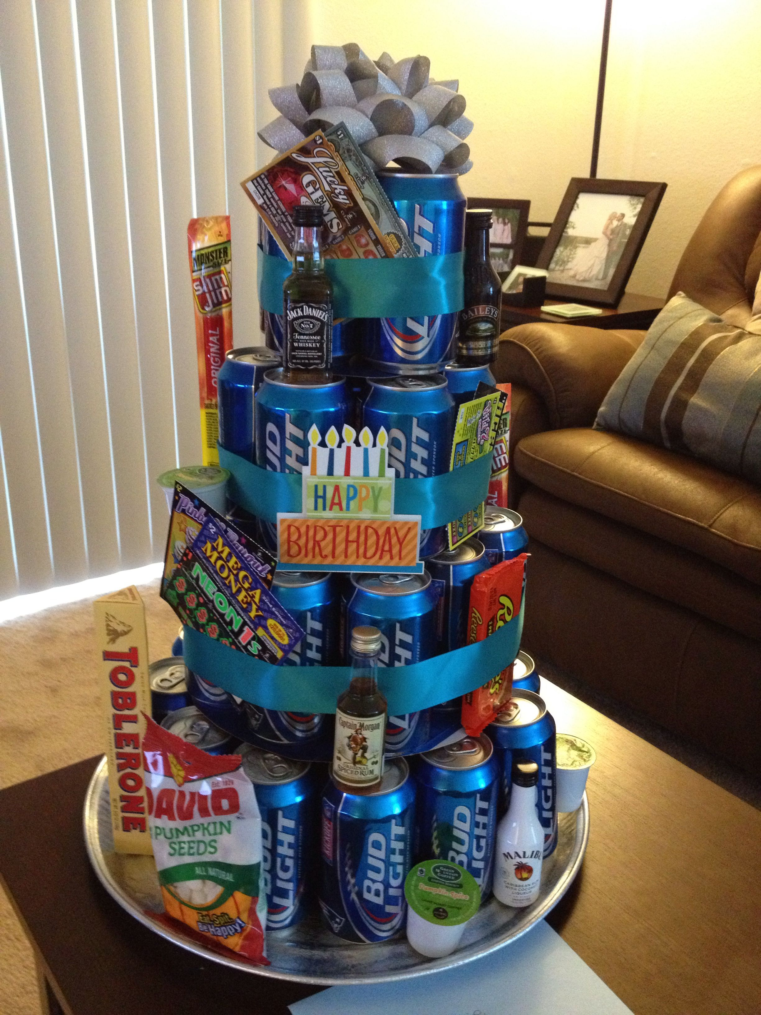 We would do a Mt Dew cake 12 round 13 cans 10 round 9 cans