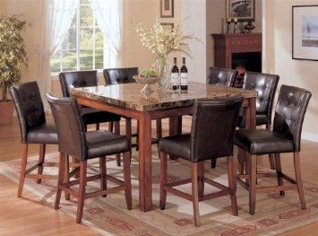 1 037 Amazon Com 9pc Counter Height Dining Table Amp Stools Set Dark Brown Fin Granite Dining Table Granite Kitchen Table Counter Height Dining Table Set