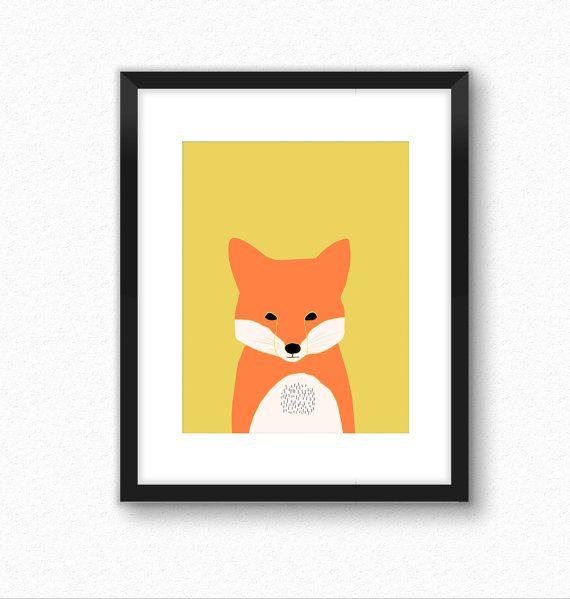 Fox print, woodland nursery decor, nursery prints, woodland animal ...