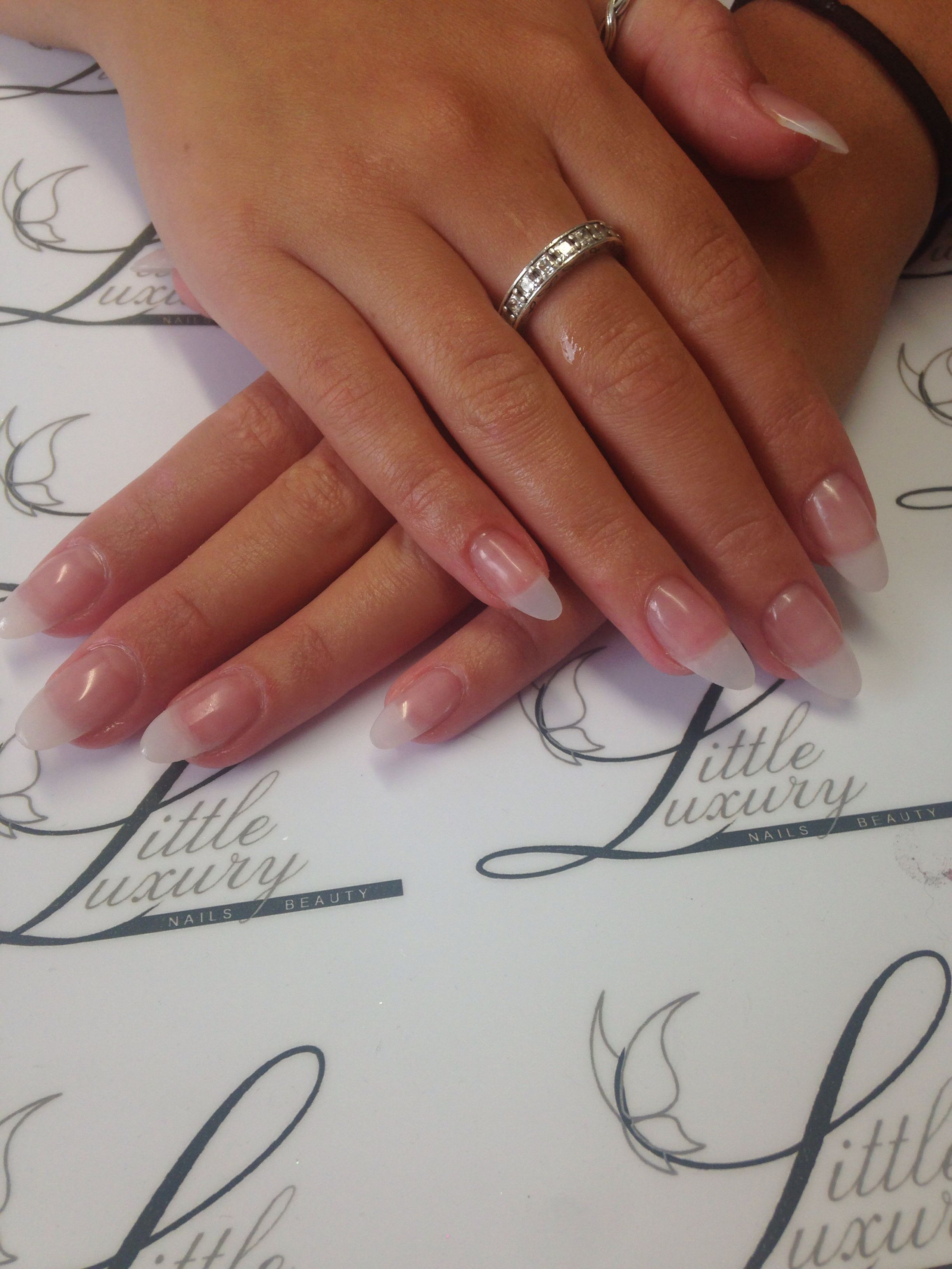 Full Set Of Natural Acrylic Enhancements Love This Almond Shape At The Moment Natural Acrylic Nails Acrylic Nails Stiletto Trendy Nails