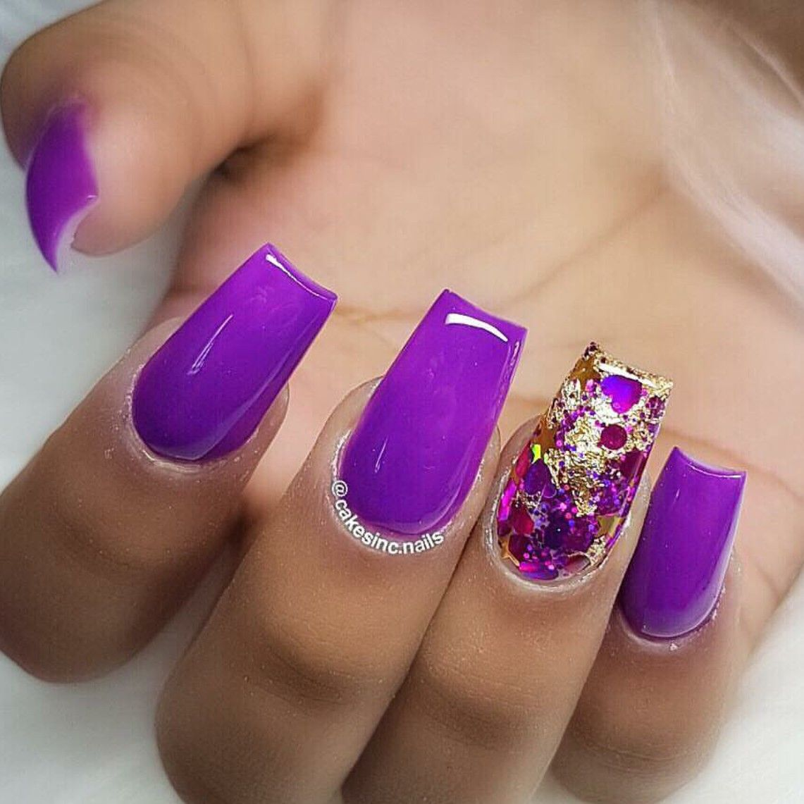 Neon Purple Nails Gold Glitter Nails Square Nails Acrylic Nails Summer Nails Purple Nails Gold Glitter Nails Neon Purple Nails