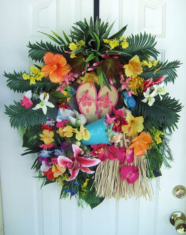 Tropical Floral Wreath Luau Wreath Door Wreath Summer Wreath