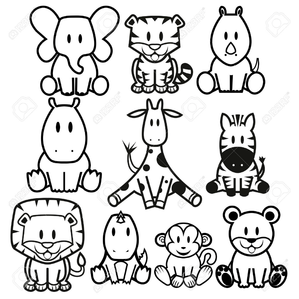 Vector Cute Wild Animals Set Cute Wild Animals Easy Animal Drawings Zebra Cartoon